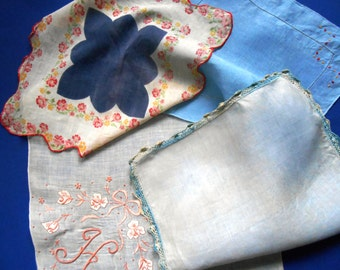 Vintage Hankies, Embroidered H Handkerchief,