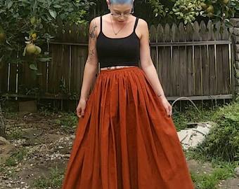 "Vintage rust colored gathered waist skirt size small 27"" waist"
