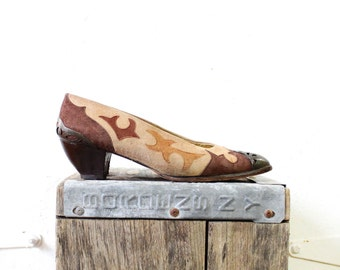 Zalo Brass Tip Suede Heels 8 1/2 • Brown Suede Western Heels • Tan Leather and Suede Shoes | SH186