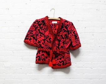 Floral and Paisley Jacket S/M • Short Sleeve Floral  Jacket • Bell Sleeve Spanish Tapestry Jacket • Red and Black Jacket | O171