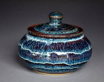 Blue Ceramic Sugar Bowl Stoneware Pottery Jar Handmade Jar A