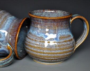 Pottery Mug Stoneware Ceramic Coffee Cup Handmade Mug Aqua Rim