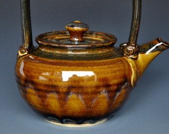 Dark Umber Stoneware Teapot Ceramic Teapot Pottery Teapot B