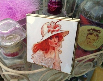 Red Head Compact Mirror / Vintage Lady / Hand Mirror / Josephine Currie / LAST ONE!