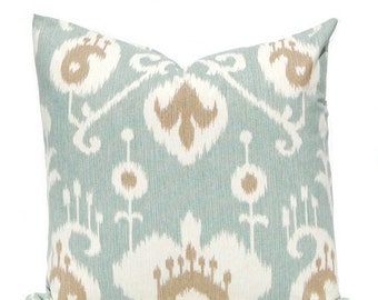 SALE Decorative Throw Pillow Covers - Seafoam Green Pillows - 18 x 18 Ikat Pillow Covers - Aqua Pillows with Brown - Same Fabric Front and B