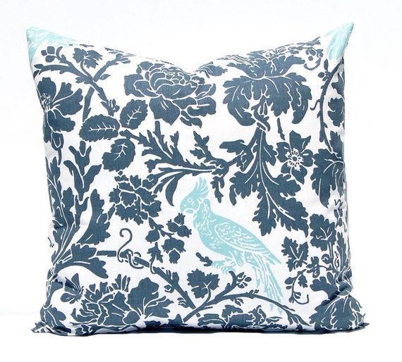 Throw Pillows For Charcoal Sofa : Throw Pillow Covers Gray and Aqua Decorative by CompanyTwentySix