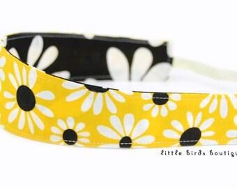 Reversible Fabric Headband- Children Toddler in Black, Yellow, Crazy Daisy by Benartex