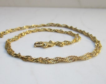 Vintage 14k Solid Yellow Gold 19 inche Rope Style Chain