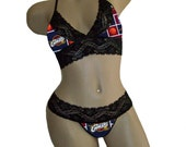 Sexy Cleveland Cavaliers NBA Lingerie Black Lace Cami Bralette Style Tie-Top and Matching G-String Panty Thong CUSTOM Sizing