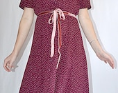 Vintage Burgundy and White Polka Dot Button Front Fit and Flare Dress Sz L