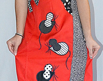 SALE Thru July Vintage 1970s Black and White Patchwork Applique Penguin and Mouse On Red Wrap Skirt Waist 26 to 32 Inches