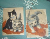 RESERVED FOR CELIA...Kitty Cat Paint By Number Set of 2 Paintings ~ Kittens and Yarn ~ Two Vintage Kitties ~ Cat Art
