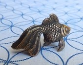 Nikita Fedosov Miniature Bronze Goldfish, Vintage Art Bronze Collectible Figurine RESERVED