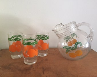 Vintage Glass Tilt Ball Pitcher Oranges With 3 Pedestal Juice Cups Kitchen Decor