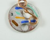 Enameled Focal Toggle Clasp with Copper Wire Toggle Bar-5
