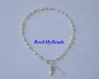 White pearl Ankle Bracelet - Anklet, ankle jewelry, leg jewelry, pearls, pearl ,pearl anklet,pear leg jewelry,pearl ankle jewelry,jewelry