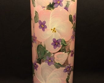 Hand Painted Glass Vase or Candle Holder - Blossoms - Pink-White w-Violets