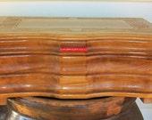 Vintage Honey Wood Jewelry Box Organizer Storage
