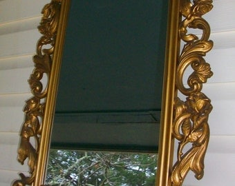 Large Vintage Rectangular Gold Syroco Ornate Shabby Chic Wall Mirror w/ Rose Accents