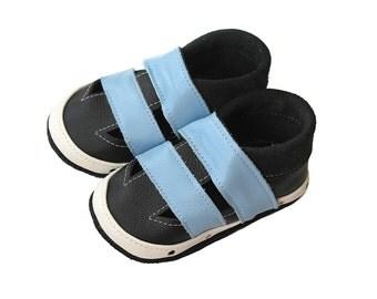 Leather Baby Sandals, Baby Shoes, Infant Newborn Nursery Children Blue Black