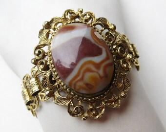 Vintage 60s Gold Book Chain Victorian Revival Agate Bracelet