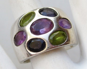 Vintage Sterling Silver Nicky Butler Amethyst Peridot Jeweled Ring size 7 1/2