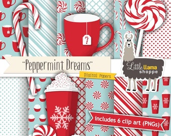 Cafe Christmas Digital Paper, Contemporary Christmas Clipart, Peppermint Digital Paper, Peppermint Clipart, Commercial Use