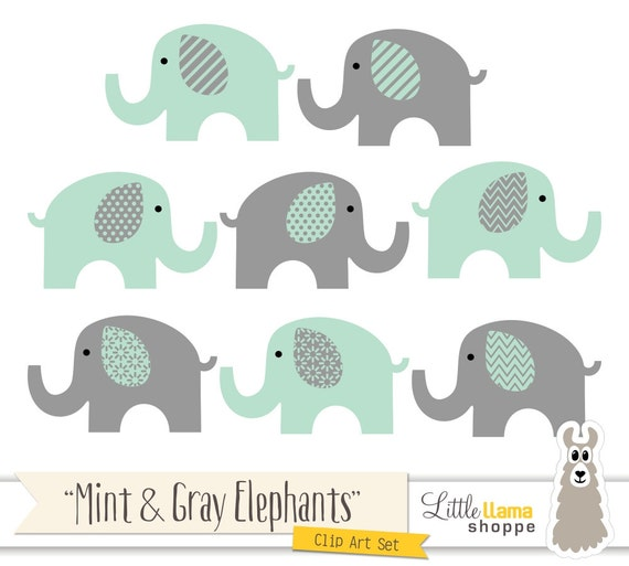 Mint And Grey Elephants Clipart Mint Green And Gray