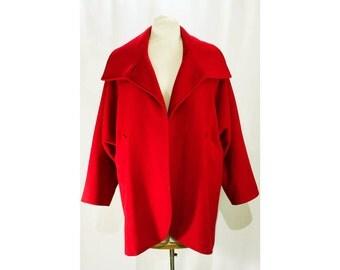 XL Red Coat - 1980s Modernist Wool Winter Jacket - Convertible Collar - Waist Pockets - Minimalist Design - Size 20 - Bust 48 - 46903