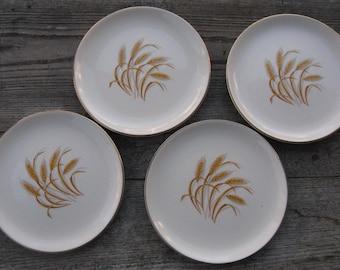 homer laughlin golden wheat dessert plates 7 1/8 inches set of 4 duz detergent giveaway mid century dining country kitchen farmhouse kitchen