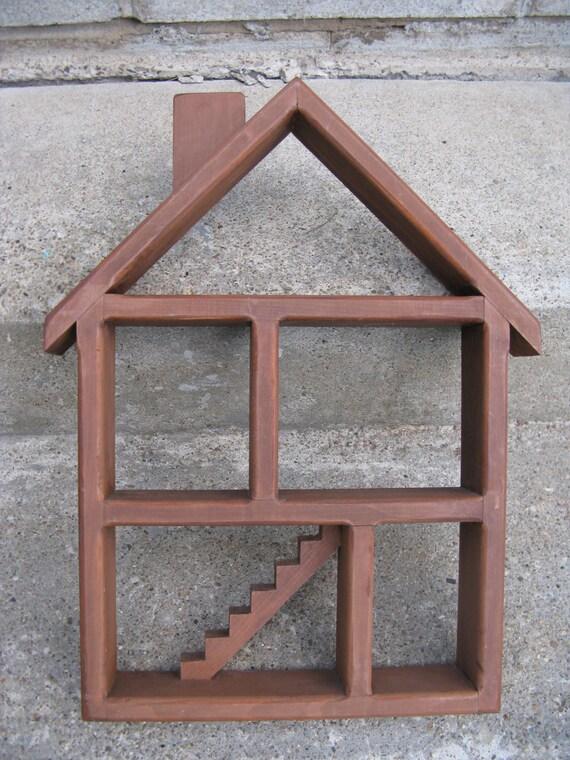 Wooden House Shaped Wall Shelf Wooden Wall Cubbie Shadow Box