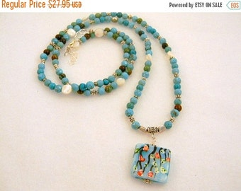 On Sale ON SALE NOW Bohemian Necklace, Turquoise Long Necklace, Long Turquoise Necklace, Long Pendant Necklace, Turquoise Necklace