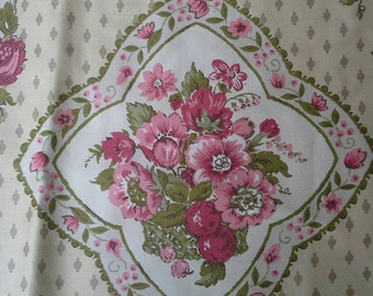Vintage Waverly Turnbull House Combed Cotton Two Large  Fabric Samples X0527 Natural Background Mauve Floral