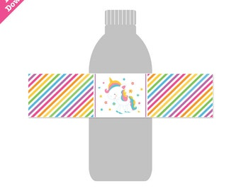 50% Off Sale! - PRINTABLE Rainbow Unicorn Party Bottle Wraps - INSTANT DOWNLOAD