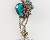 OOAK teal steampunk wire wrapped heart pendant with key