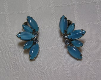 Vintage blue cabochon navettes light blue rhinestone ear climber earrings