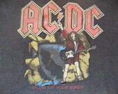 Vintage 80's AC/DC 1988 Blow Up Your video Concert Heavy Metal Tour Black T Shirt M