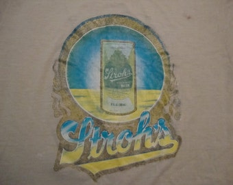 Vintage 70's Stroh's Beer Iron On Soft Paper Thin T Shirt XS