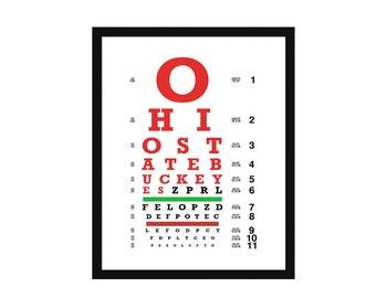 Eye Chart - Ohio State - Art Print - Wall Art-  Poster - Buckeyes