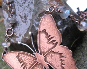 Etched Copper and Sterling Silver Butterfly