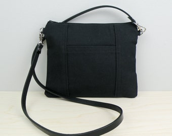Handmade Tiny Purse in Black - Small Canvas Cross Body Bag - Black Purse Handmade with Leather Strap