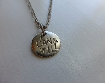 I Can and Will, Stay Strong, brave, hand stamped pewter necklace, college graduation girls power phrases, recovery eating disorders, fitness