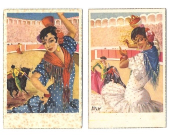 FLAMENCO Pair of POSTCARDS - Sevilla, Sevillanas, Toros, Flamencas - 2 x Vintage Postcard from Andalucía, Spain