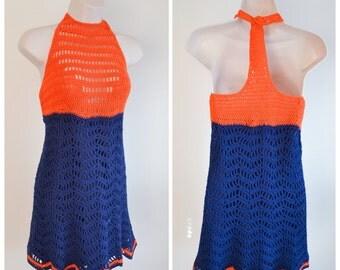 1960s Blue & orange crochet mini dress / 60s crocheted shift dress - XS