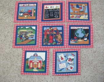 Thirty Schoolhouse-Theme Quilt Blocks, Eight Designs, 8.5""