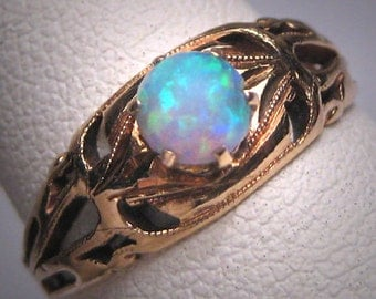 Antique Australian Opal Ring Victorian 14K Gold Wedding Filigree Band 1890