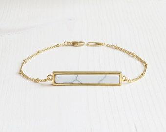 White Marble Bar Bracelet | Gold Bar Bracelet | Gold White Marble Bar Bracelet | Gold Layering Bracelet