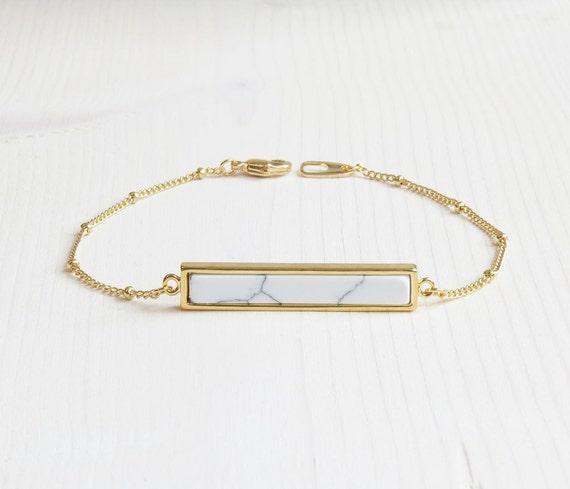 White Marble Bar Bracelet