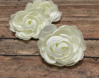 3 Cream White Ranunculus Flowers - 2.5 Inches - Artificial Flowers, Silk Flowers, Wedding, Flower Crown