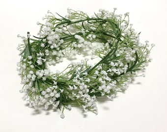 6 Ft White Baby's Breath Flower Garland, Gypsophila - Artificial Flowers, Wedding Decor, Arbor, Trellis, Flower Crown, Hair Accessories, Hat
